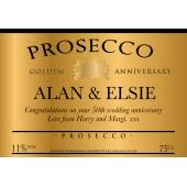 Personalised Golden Anniversary Prosecco Label