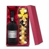Personalised Ruby Port with Hand Made Truffles