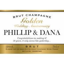 Personalised Gold Anniversary Champagne