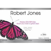 Butterfly - Personalised Rosé Wine Label