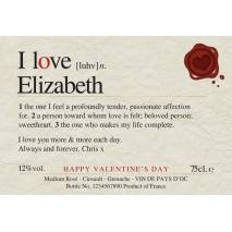 Love You - Personalised Valentine's Rosé Wine Label
