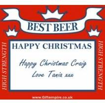 Personalised Christmas Red Square Beer Bottle Label