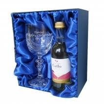 Personalised White Wine & Crystal Goblet Set