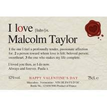 Love You - Valentine Personalised White Wine Label