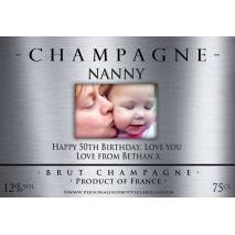 Personalised Photo Champagne Bottle Label NEW Silver design