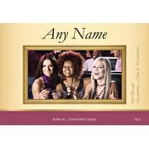 Gold Frame Rosé Wine Photo Upload label