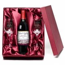 "Personalised ""Happy Anniversary"" Red Wine & Engraved Glasses"