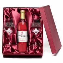"Personalised ""Congratulations"" LIVERPOOL FC Rosé Wine & Engraved Glasses"