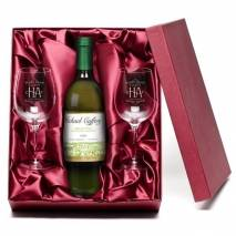 "Personalised ""Happy Anniversary"" White Wine & Engraved Glasses"