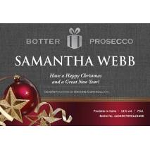 Personalised Prosecco - Christmas Baubles Label