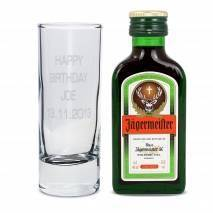 Shot Glass and Mini Jagermeister - Text Only