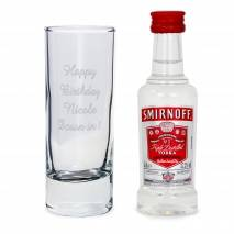 Personalised Shot Glass and Miniature Vodka Set - Text Only