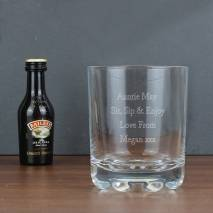Personalised Whisky Glass & Baileys Miniature Set
