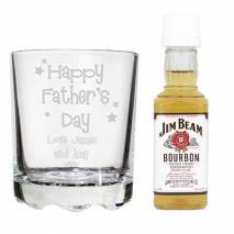 Personalised Happy Father's Day Glass & Bourbon Whisky Miniature Set