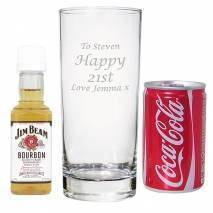 Personalised Hi Ball Glass with Bourbon Whisky Miniature & Coke Set