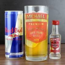 Personalised Vodka Glass & Red Bull set