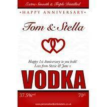 Personalised Anniversary Vodka Label