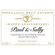 Personalised Anniversary Cava Label