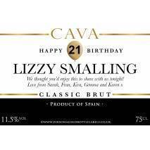 Personalised Birthday Cava Label