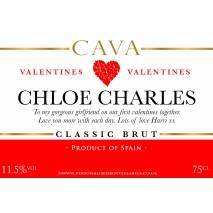Personalised Valentines Cava Label