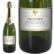 Personalised Valentines Champagne -Gold Heart