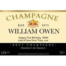 Personalised Champagne Label with Authentic Lion Motif