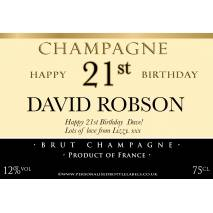 Personalised Birthday Champagne Label with Special Age