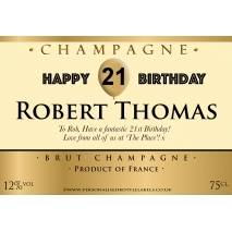 Personalised Birthday Champagne Label with Gold Balloon