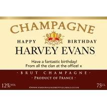 Personalised Birthday Champagne Label in Maroon