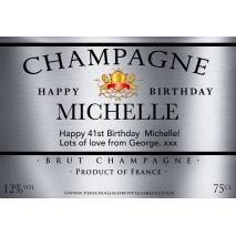 Personalised Birthday Champagne Label in Silver Effect