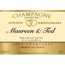 Personalised Golden Anniversary Champagne Label