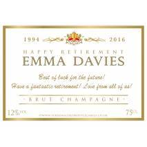 Personalised Retirement Champagne Label