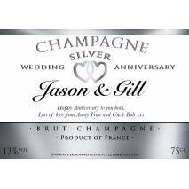 Personalised Silver Anniversary Champagne Label