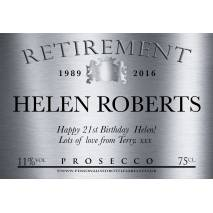 Personalised Retirement Prosecco Label