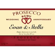 Personalised Ruby Anniversary Prosecco Label