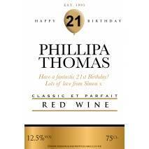 Personalised Birthday Red Wine Label
