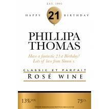 Personalised Birthday Rosé Wine Label