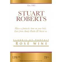 Personalised Gold White Border Rosé Wine Label