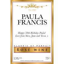 Personalised Gold Border Rosé Wine Label