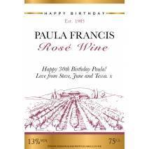 Personalised Vineyard Rosé Wine Label for Any Occasion