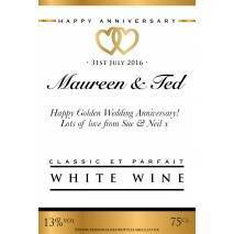 Personalised Anniversary White Wine Label