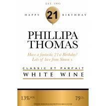 Personalised Birthday White Wine Label