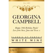 Personalised Gold Cream Wine Label
