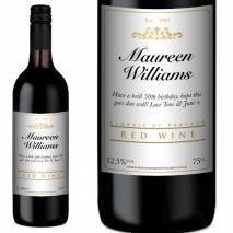 Personalised Red Wine - Classic White Label