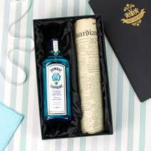 Bombay Sapphire Gin and Original Newspaper Gift Set With Personalised Gift Card