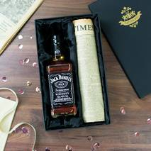 Jack Daniel's Whiskey and Original Newspaper Gift Set With Personalised Gift Card
