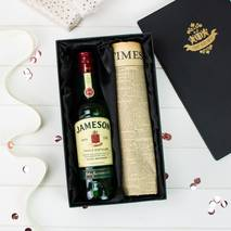 Jameson Irish Whiskey and Original Newspaper Gift Set With Personalised Gift Card