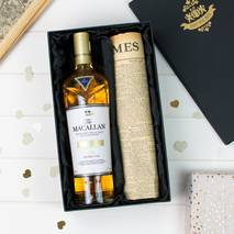 Macallan Double Cask Gold Whisky and Original Newspaper Gift Set With Personalised Gift Card