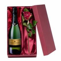Personalised Cava with Silk Rose Gift Set