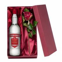 Personalised Vodka with Silk Rose Gift Set